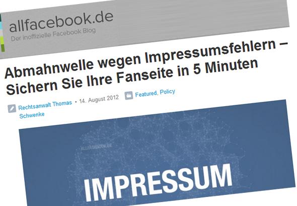 Impressumsfehler auf Facebook-Fanseiten – Abmahnwelle und 5-Min-Abhilfe