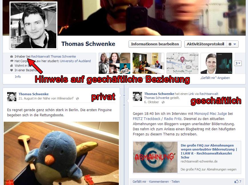 Abmahnung wegen Schleichwerbung und Impressumspflicht bei persönlichen Facebook-Profilen