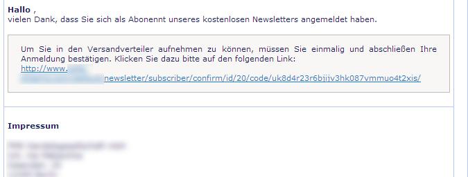 Birgt Ihr E-Mail-Newsletter ein Abmahnrisiko? - Bestätigungsemail