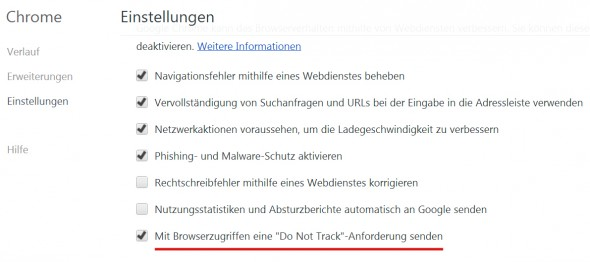 Cookie-Richtlinie: Do Not Track Chrome