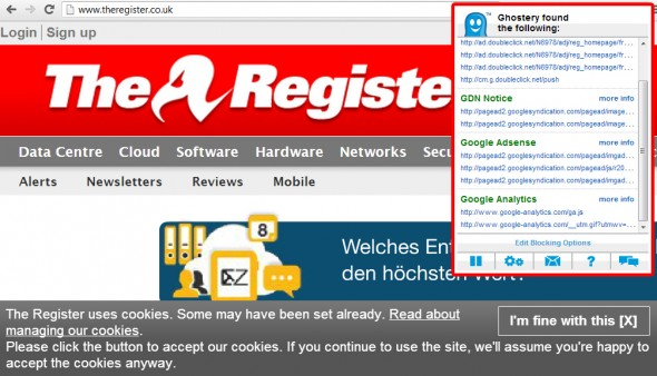 Cookie-Richtlinie: Beispiel The Register