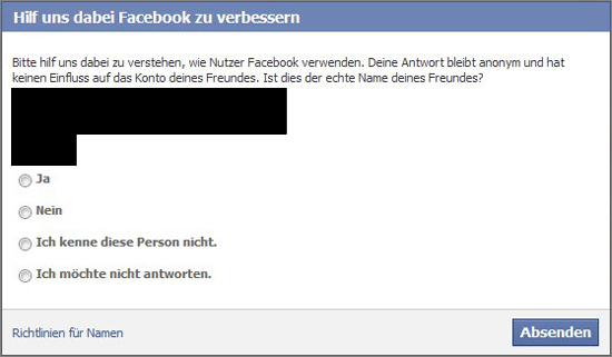 Facebook - Klarnamenanfrage