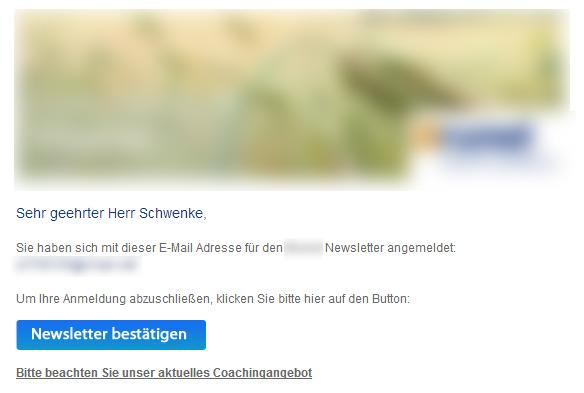 Birgt Ihr E-Mail-Newsletter ein Abmahnrisiko? - Bestätigungsemail mit Werbung