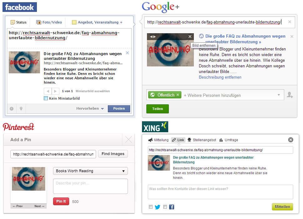 Nun ist es soweit: Abmahnung wegen Vorschaubildern bei Facebooks Teilen-Funktion