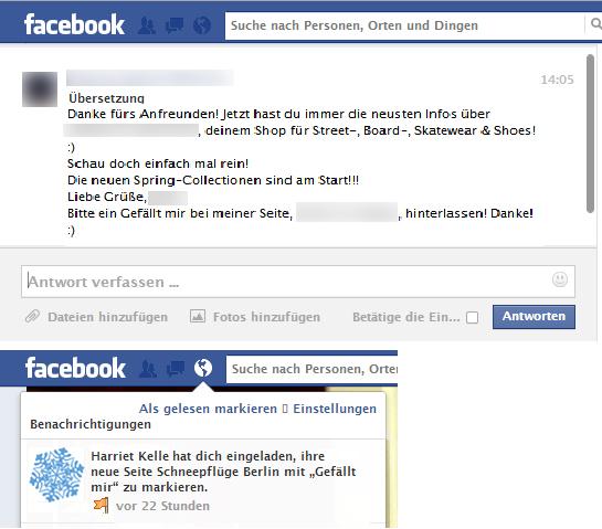 Facebook - Spam oder zulässige Ansprache in sozialen Netzwerken