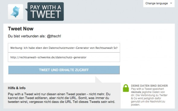 """Pay with a Tweet""-Beispiel"