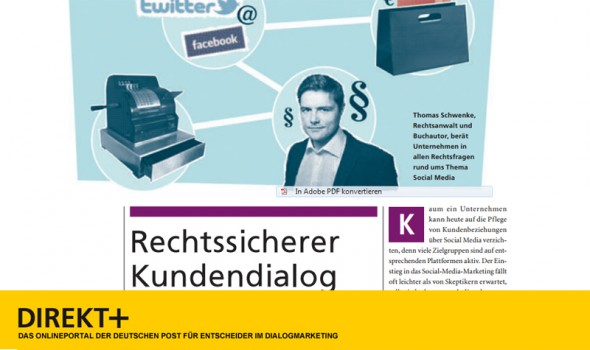 Interview zur Rechtsfragen des Customer Relationship Management (CRM) im Direkt+ Magazin