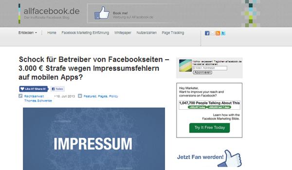 Impressum & Fanseiten – 3.000 € Vertragsstrafe wegen mobiler Facebook-Apps?