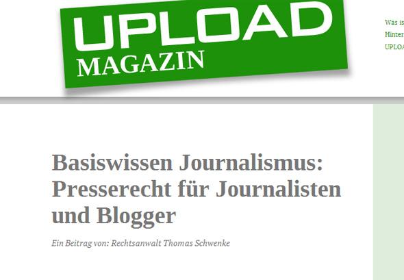 Presserecht für Journalisten und Blogger – Gastbeitrag im Upload-Magazin