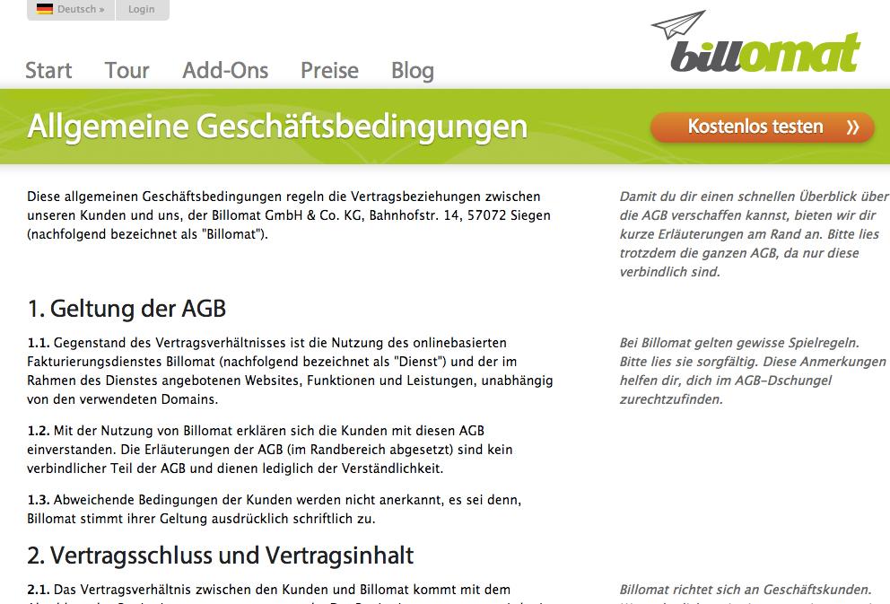 Interview mit Billomat zum Wandel von AGB vom Kleingedruckten zum Vertrauensmittel