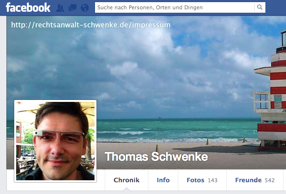 Facebook - Impressum im Coverbild