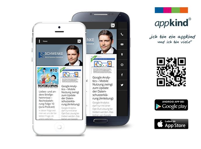 Neu und kostenlos: App der Rechtsanwaltsanzlei Schwenke für iOS und Android