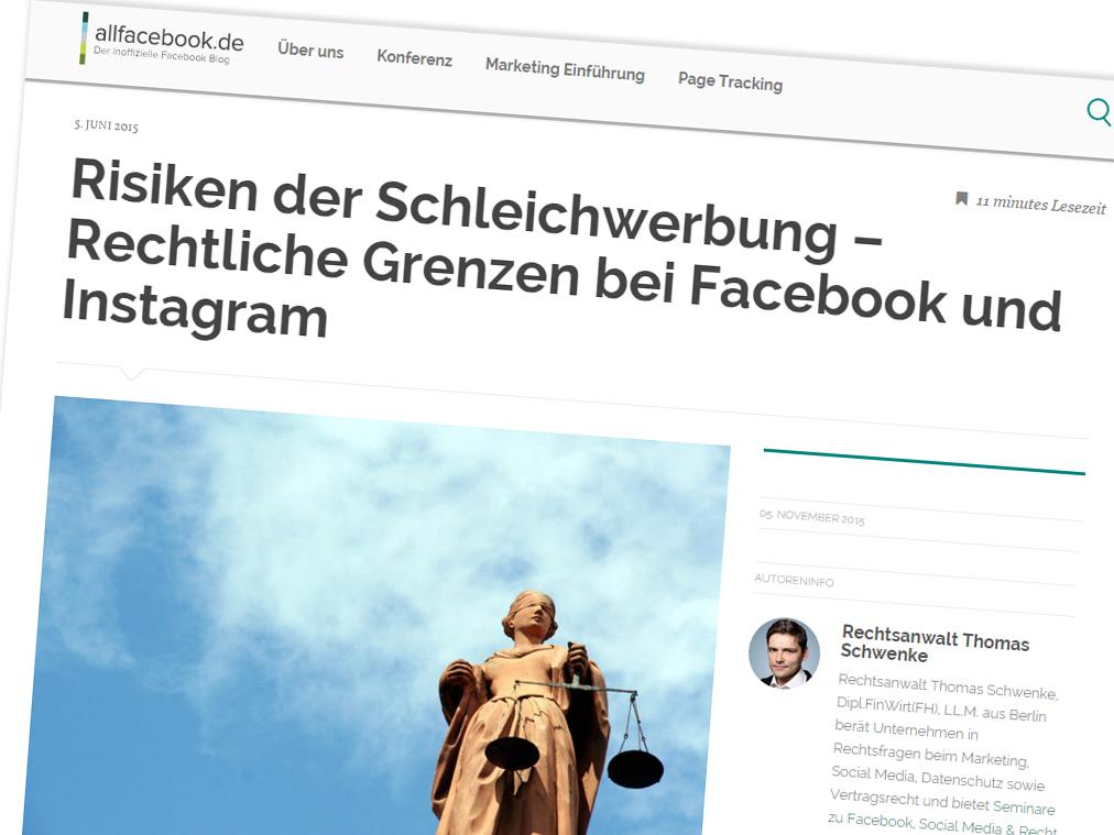 Rechtliche Grenzen der Schleichwerbung bei Facebook & Instagram