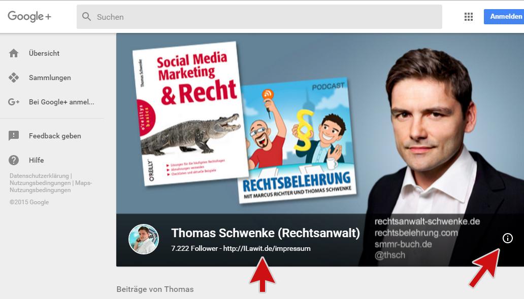 Bitte Google+ Profile aktualisieren – Designupdate lässt das Impressum verschwinden