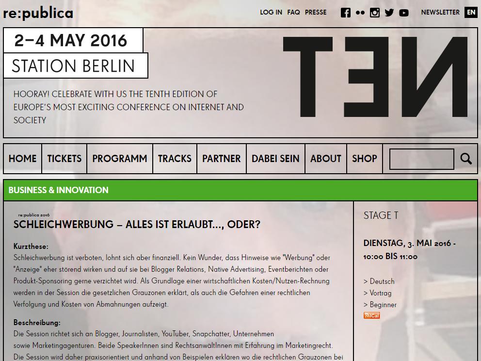 Mehr zur Schleichwerbung auf der re:publica TEN