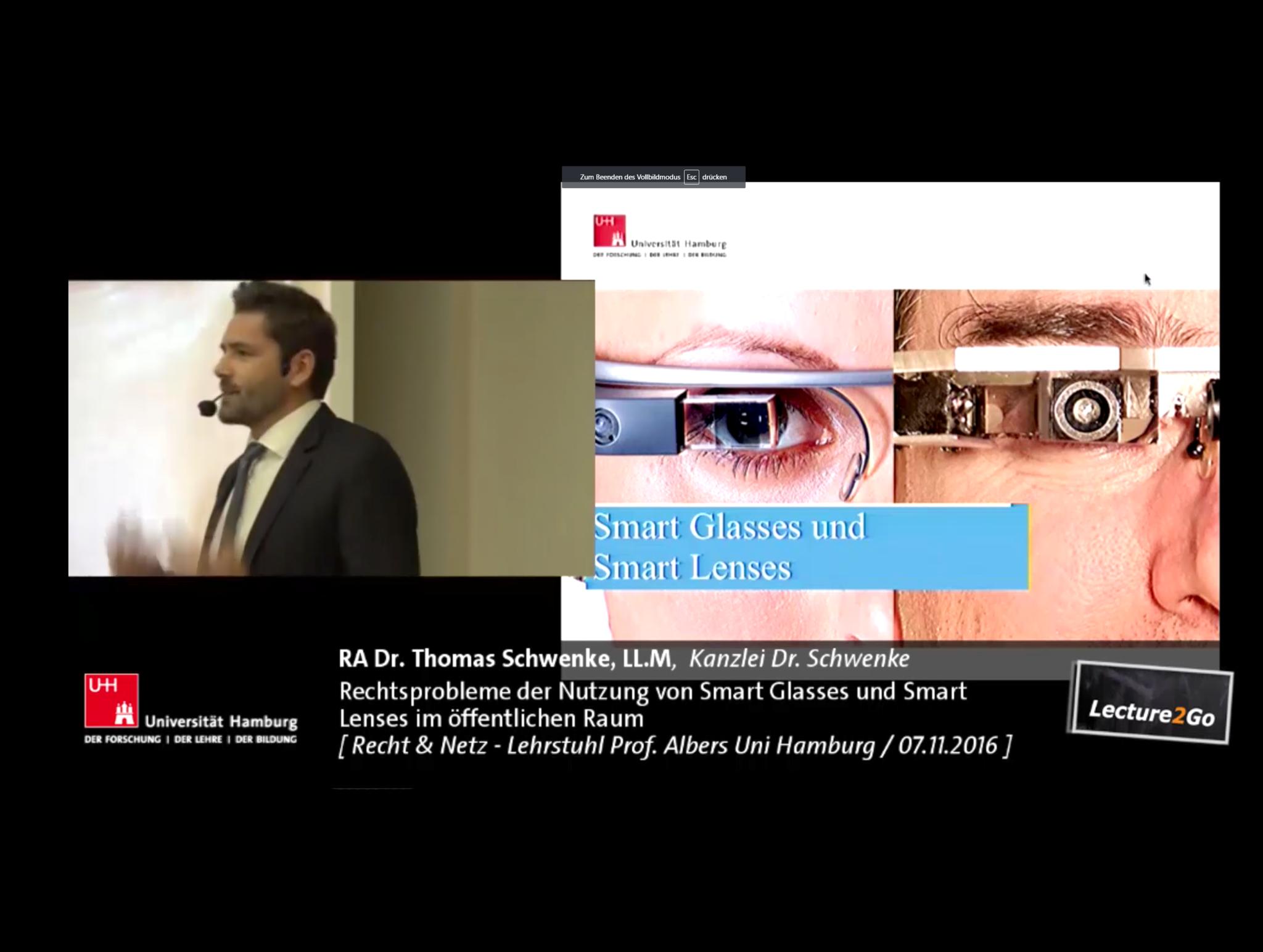 Videotipp: Rechtsprobleme der Nutzung von Smart Glasses und Smart Lenses – Augmented Reality und Privatsphäre