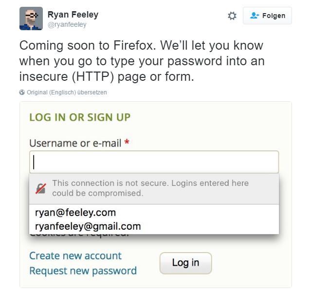 Mozilla kündigt Hinweise auf nicht verschlüsselte Onlineformulare an