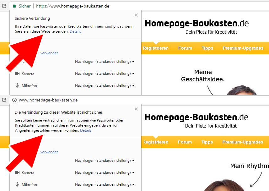 Homepage-Baukasten.de - Verschlüsselte Übertragung via https