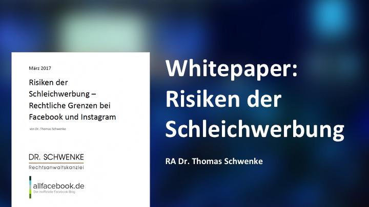 """Whitepaper: """"Risiken der Schleichwerbung – Rechtliche Grenzen bei Facebook und Instagram"""" bei Allfacebook.de"""