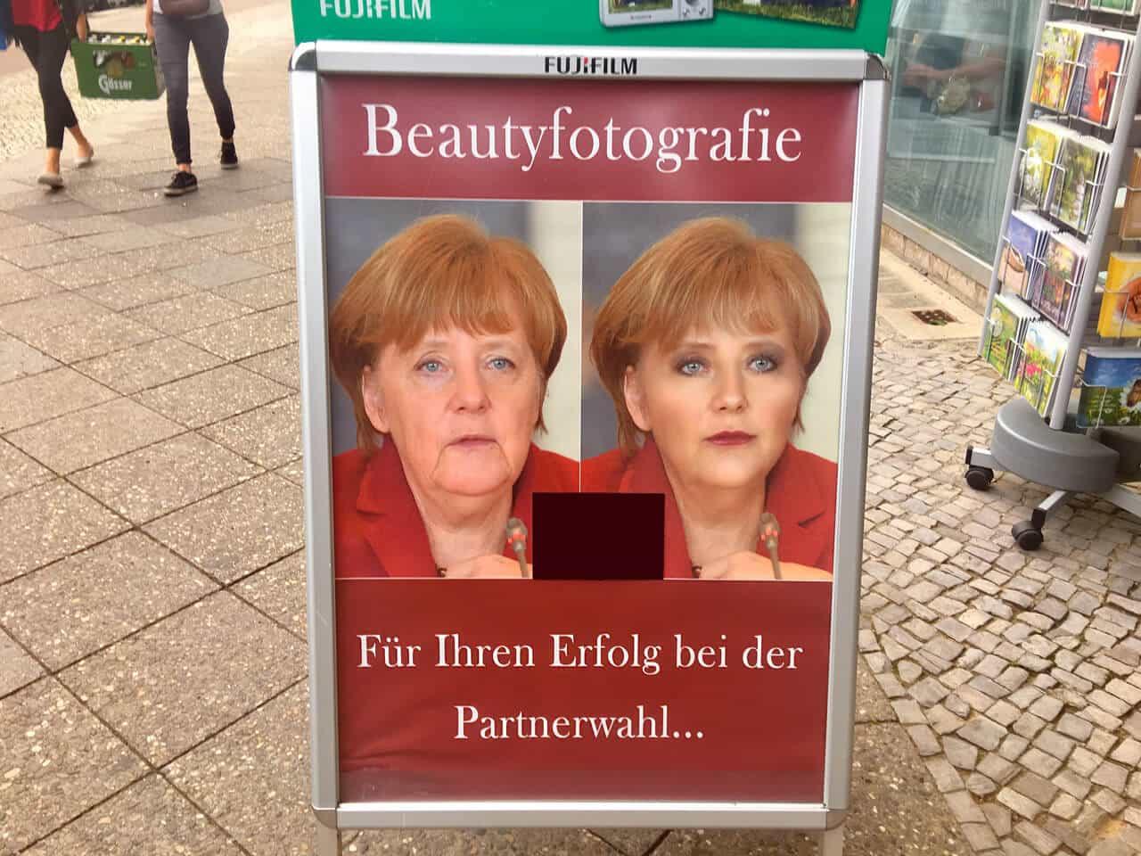 Die schöne Frau Merkel auf Partnersuche – Wie man mit Prominentenbildern nicht werben sollte