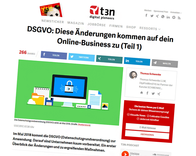 Beitragshinweis: Start der Ratgeberreihe zur Datenschutzgrundverordnung (DSGVO) im t3n-Magazin