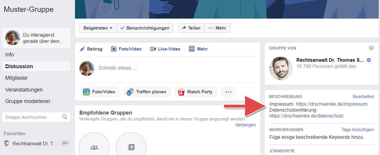 Facebook Impressum Link