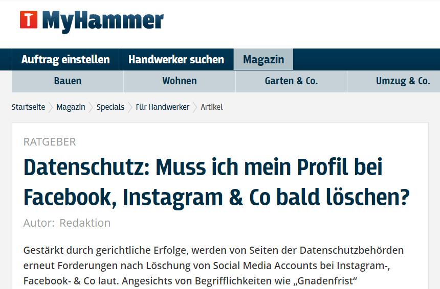 Lesetipp: Datenschutz: Muss ich mein Profil bei Facebook, Instagram & Co bald löschen?